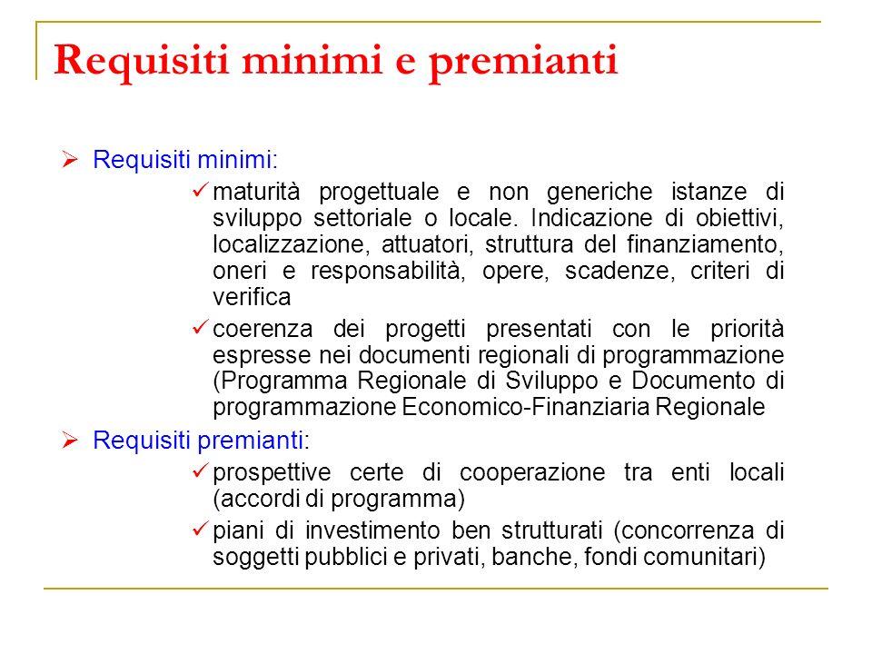 Requisiti minimi e premianti Requisiti minimi: maturità progettuale e non generiche istanze di sviluppo settoriale o locale. Indicazione di obiettivi,