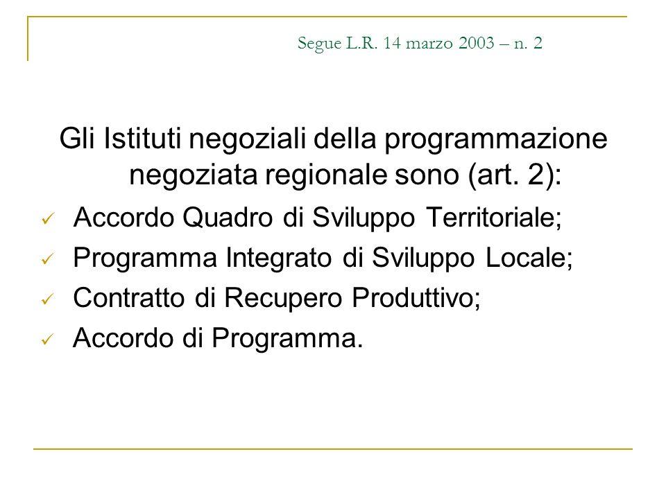 Segue L.R. 14 marzo 2003 – n. 2 Gli Istituti negoziali della programmazione negoziata regionale sono (art. 2): Accordo Quadro di Sviluppo Territoriale