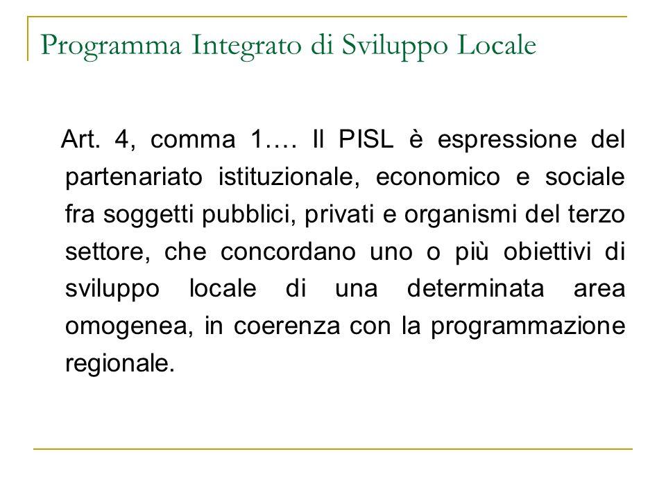 Programma Integrato di Sviluppo Locale Art. 4, comma 1…. Il PISL è espressione del partenariato istituzionale, economico e sociale fra soggetti pubbli