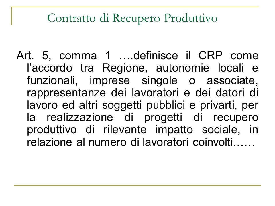 Contratto di Recupero Produttivo Art. 5, comma 1 ….definisce il CRP come laccordo tra Regione, autonomie locali e funzionali, imprese singole o associ