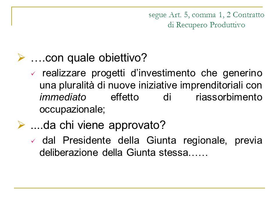 segue Art. 5, comma 1, 2 Contratto di Recupero Produttivo ….con quale obiettivo? realizzare progetti dinvestimento che generino una pluralità di nuove