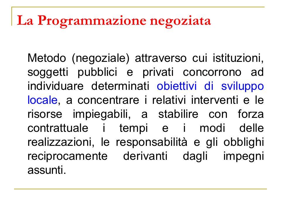 La Programmazione negoziata Metodo (negoziale) attraverso cui istituzioni, soggetti pubblici e privati concorrono ad individuare determinati obiettivi