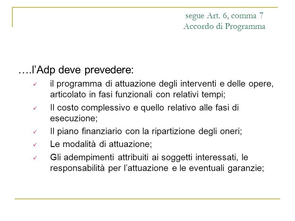 segue Art. 6, comma 7 Accordo di Programma ….lAdp deve prevedere: il programma di attuazione degli interventi e delle opere, articolato in fasi funzio