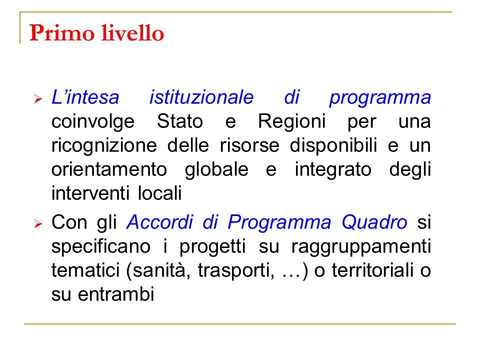 Primo livello Lintesa istituzionale di programma coinvolge Stato e Regioni per una ricognizione delle risorse disponibili e un orientamento globale e