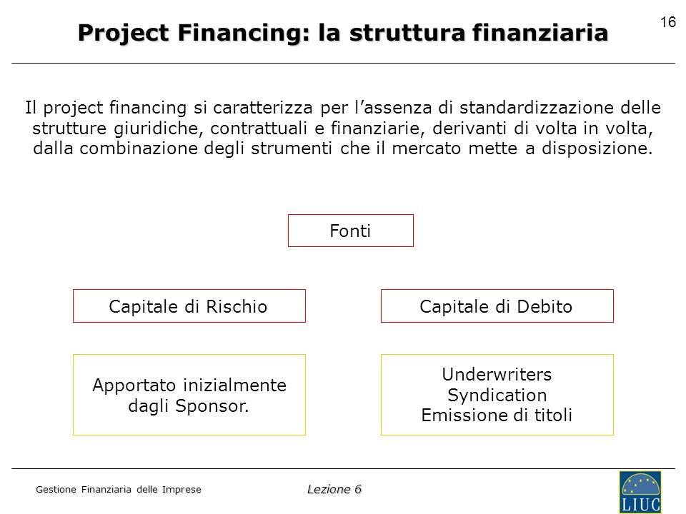 Lezione 6 Gestione Finanziaria delle Imprese 16 Project Financing: la struttura finanziaria Il project financing si caratterizza per lassenza di standardizzazione delle strutture giuridiche, contrattuali e finanziarie, derivanti di volta in volta, dalla combinazione degli strumenti che il mercato mette a disposizione.