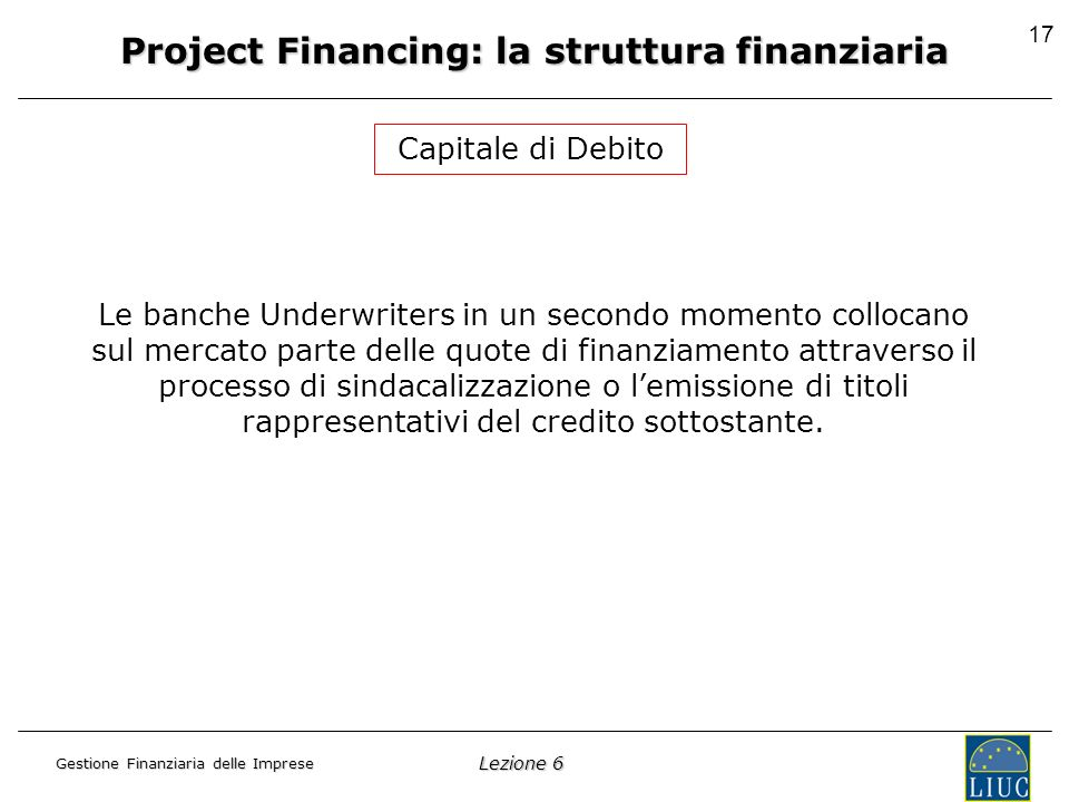 Lezione 6 Gestione Finanziaria delle Imprese 17 Project Financing: la struttura finanziaria Capitale di Debito Le banche Underwriters in un secondo momento collocano sul mercato parte delle quote di finanziamento attraverso il processo di sindacalizzazione o lemissione di titoli rappresentativi del credito sottostante.