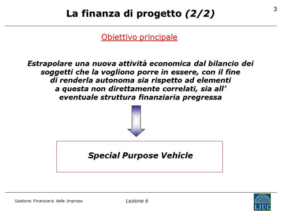 Lezione 6 Gestione Finanziaria delle Imprese 3 La finanza di progetto (2/2) Estrapolare una nuova attività economica dal bilancio dei soggetti che la vogliono porre in essere, con il fine di renderla autonoma sia rispetto ad elementi a questa non direttamente correlati, sia all eventuale struttura finanziaria pregressa Obiettivo principale Special Purpose Vehicle
