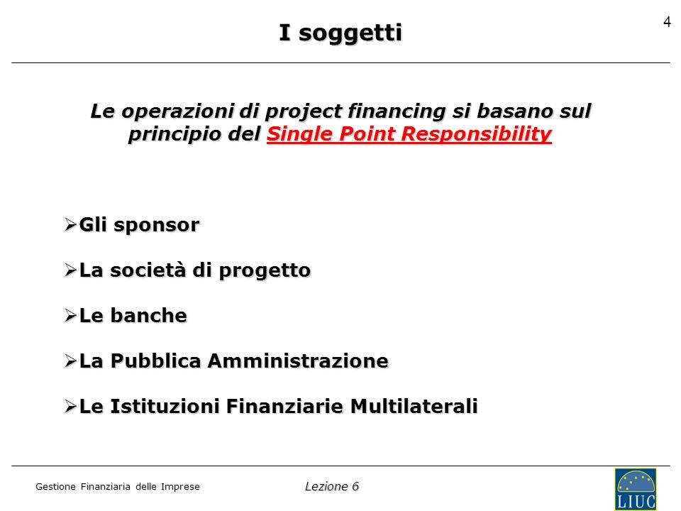 Lezione 6 Gestione Finanziaria delle Imprese 5 I soggetti: gli sponsor Sono coloro che costituiscono e investono nel capitale di rischio della Società di Progetto.