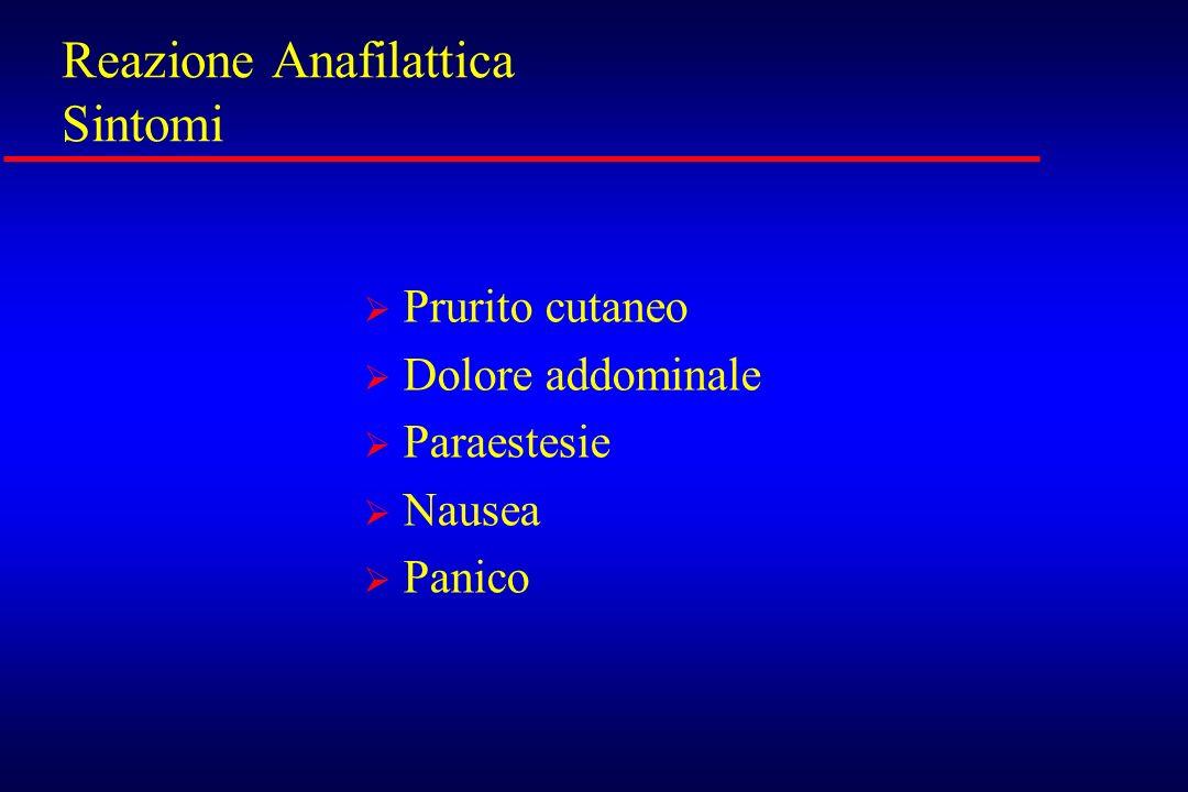 Reazione Anafilattica Sintomi Prurito cutaneo Dolore addominale Paraestesie Nausea Panico