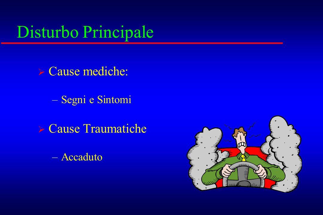 Disturbo Principale Cause mediche: –Segni e Sintomi Cause Traumatiche –Accaduto