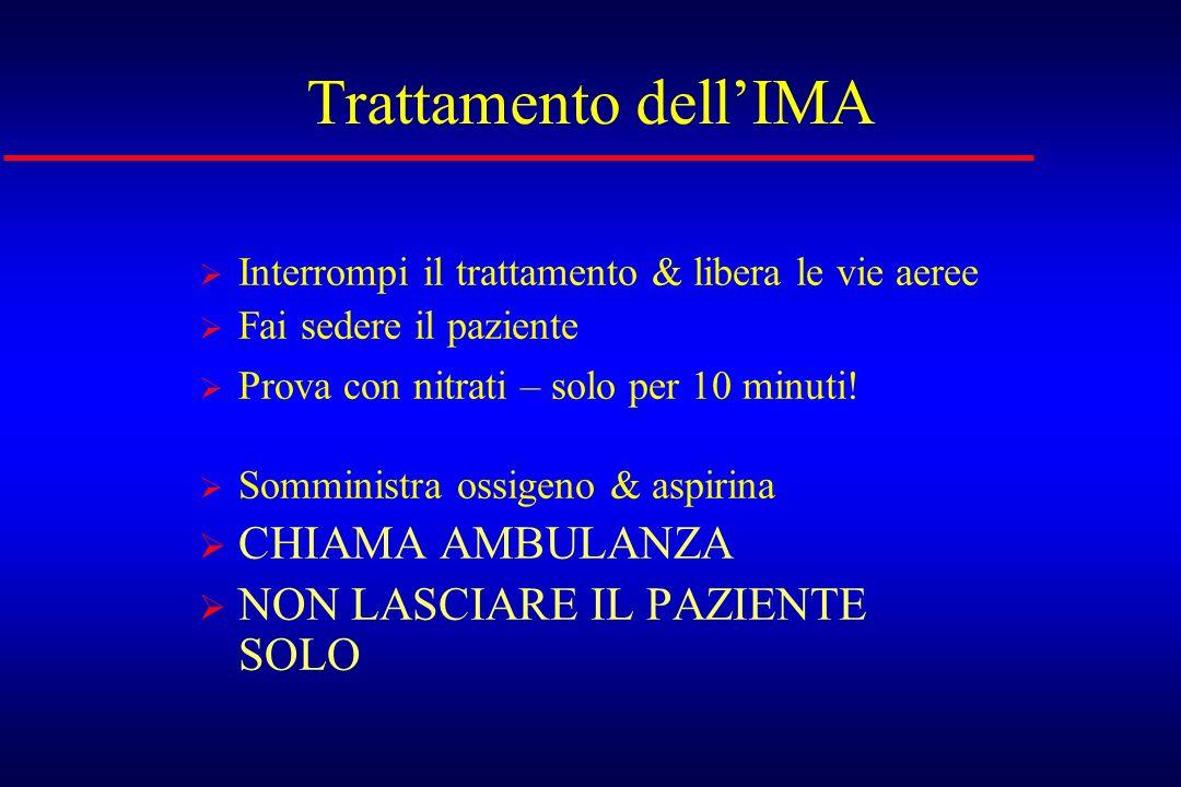 Trattamento dellIMA Interrompi il trattamento & libera le vie aeree Fai sedere il paziente Prova con nitrati – solo per 10 minuti! Somministra ossigen