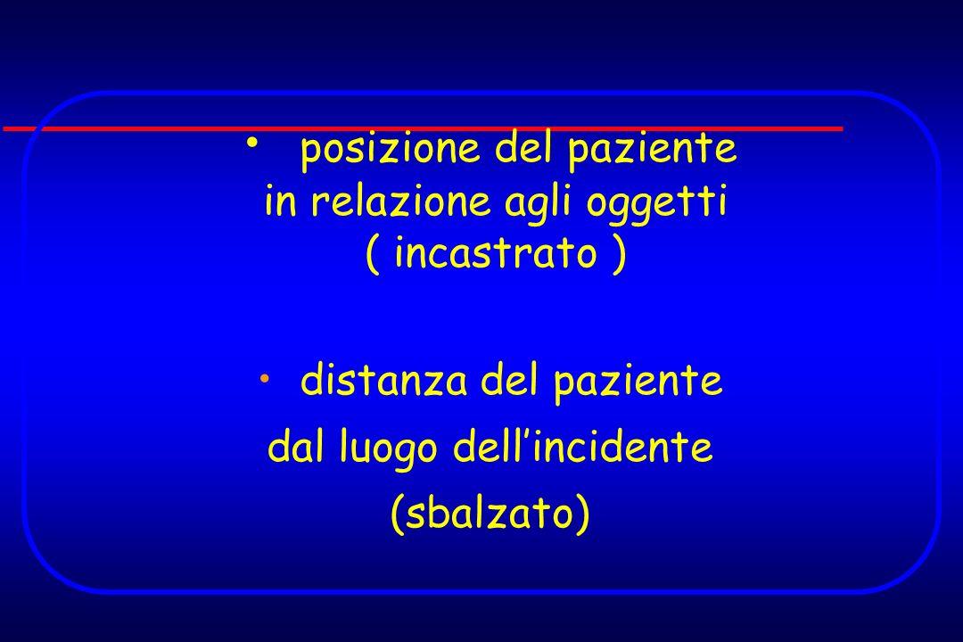 posizione del paziente in relazione agli oggetti ( incastrato ) distanza del paziente dal luogo dellincidente (sbalzato)