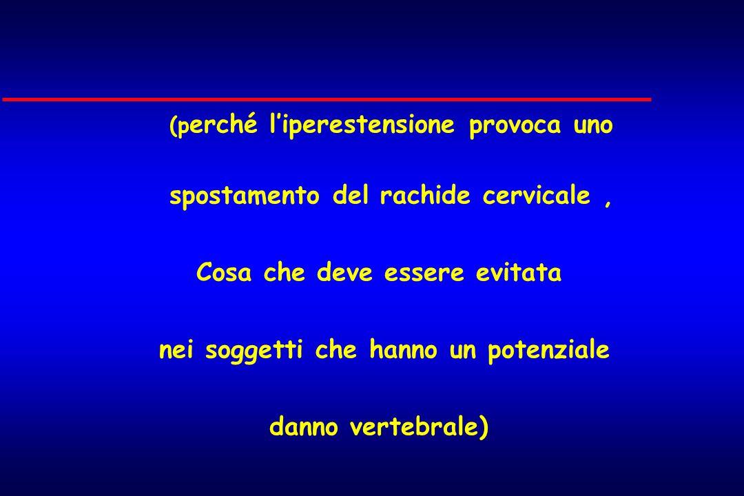 (p erché liperestensione provoca uno spostamento del rachide cervicale, Cosa che deve essere evitata nei soggetti che hanno un potenziale danno verteb