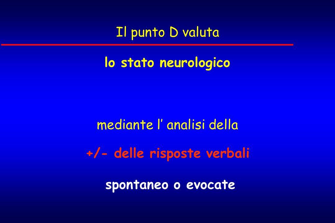 Il punto D valuta lo stato neurologico mediante l analisi della +/- delle risposte verbali spontaneo o evocate
