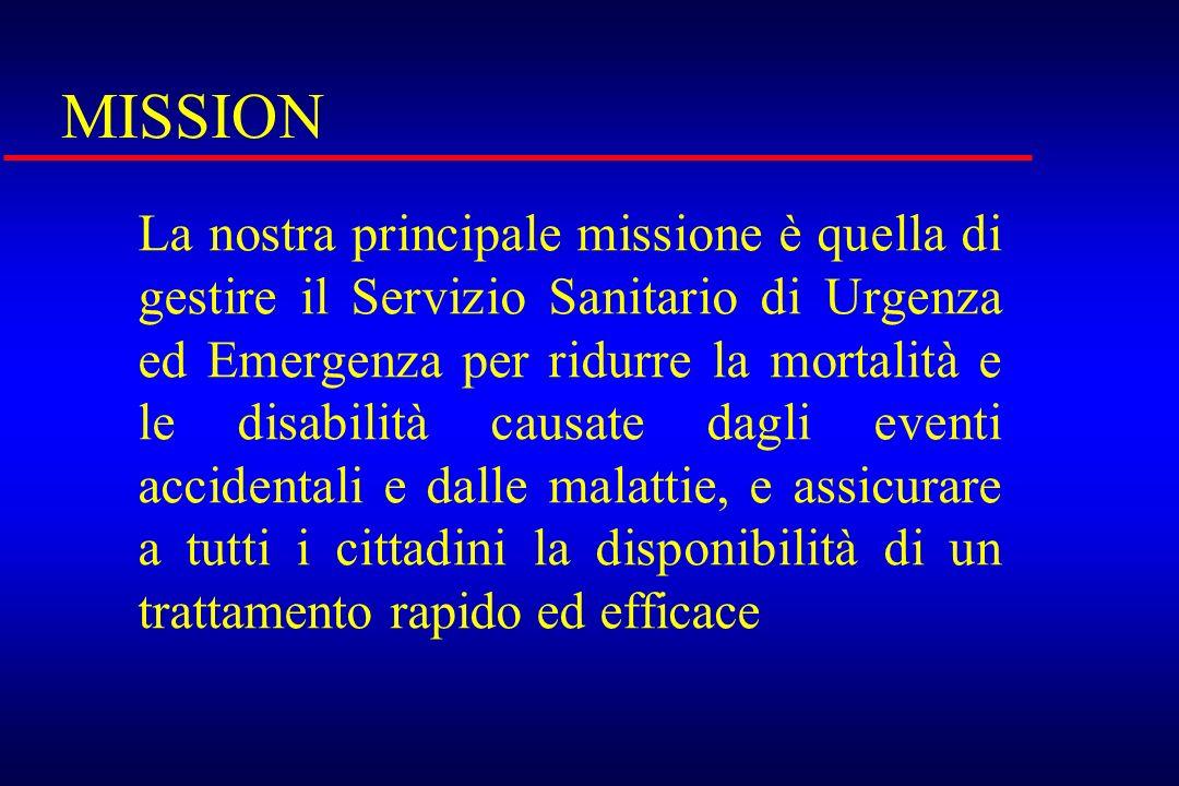 MISSION La nostra principale missione è quella di gestire il Servizio Sanitario di Urgenza ed Emergenza per ridurre la mortalità e le disabilità causa