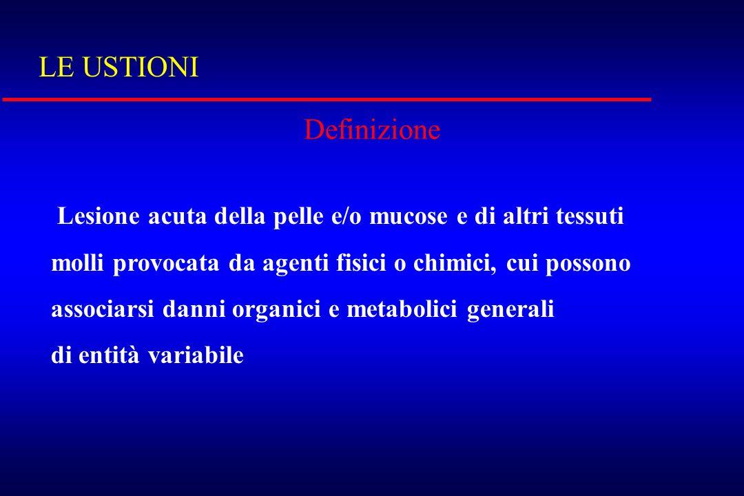 LE USTIONI Definizione Lesione acuta della pelle e/o mucose e di altri tessuti molli provocata da agenti fisici o chimici, cui possono associarsi dann