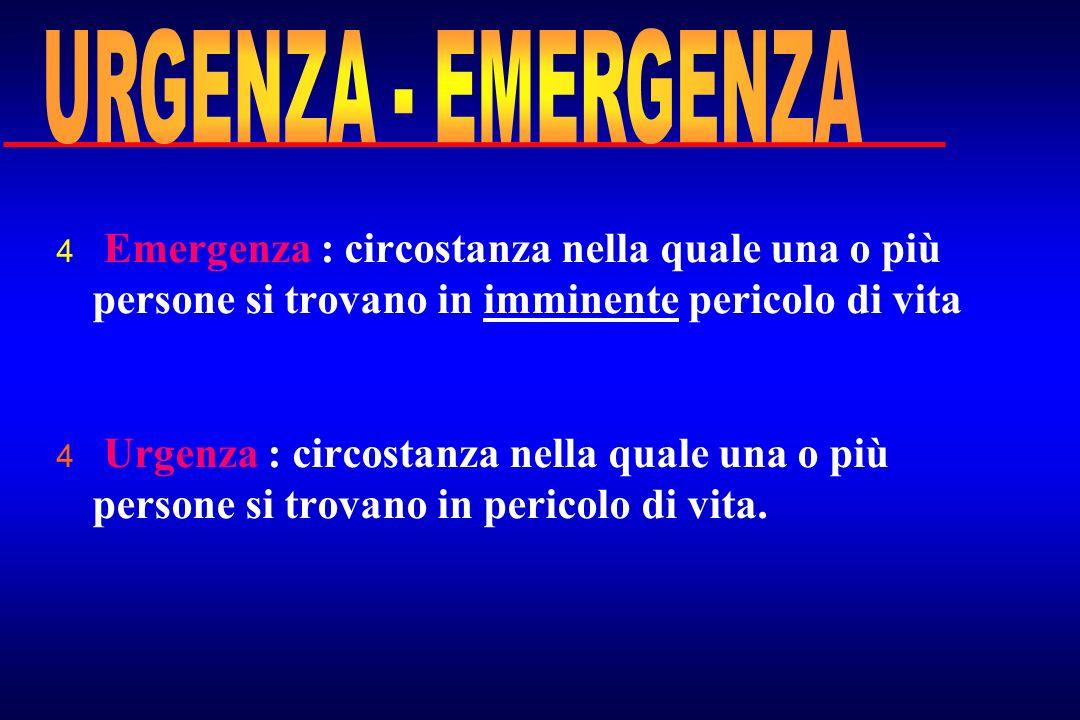 4 Emergenza : circostanza nella quale una o più persone si trovano in imminente pericolo di vita. 4 Urgenza : circostanza nella quale una o più person