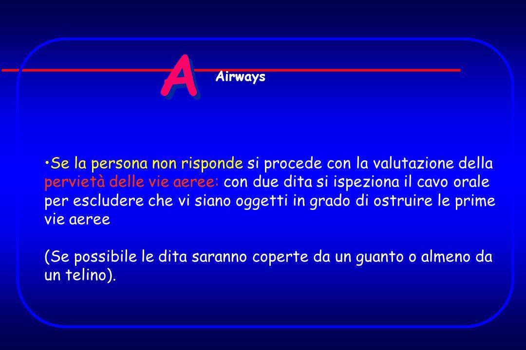 A A Se la persona non risponde si procede con la valutazione della pervietà delle vie aeree: con due dita si ispeziona il cavo orale per escludere che