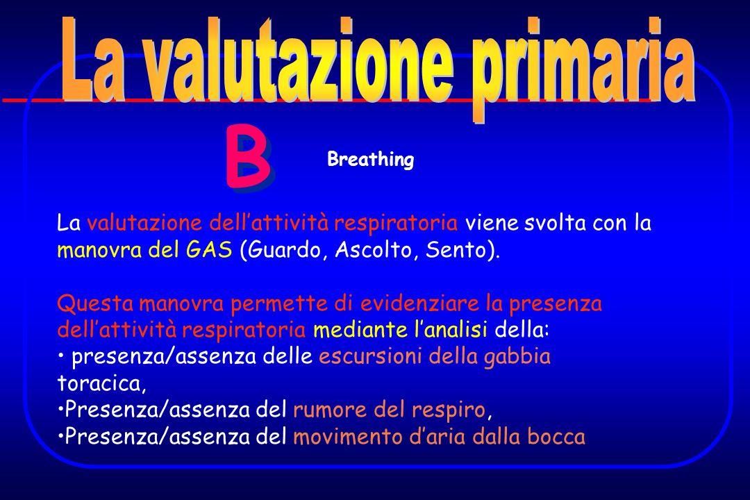 B B La valutazione dellattività respiratoria viene svolta con la manovra del GAS (Guardo, Ascolto, Sento). Questa manovra permette di evidenziare la p