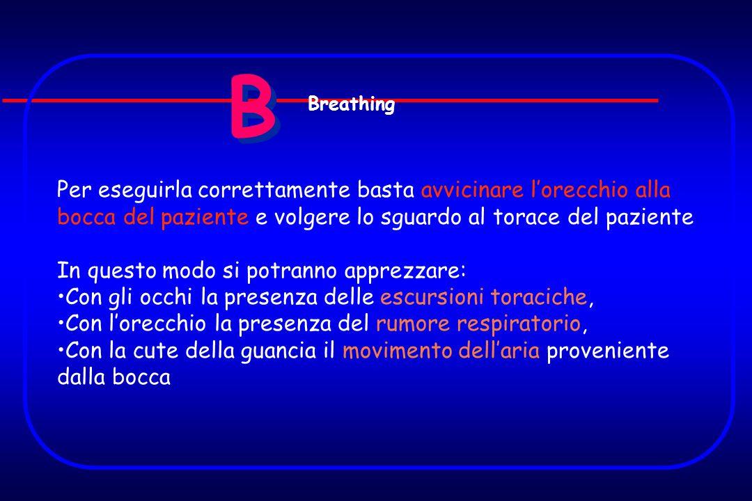 B B Per eseguirla correttamente basta avvicinare lorecchio alla bocca del paziente e volgere lo sguardo al torace del paziente In questo modo si potra