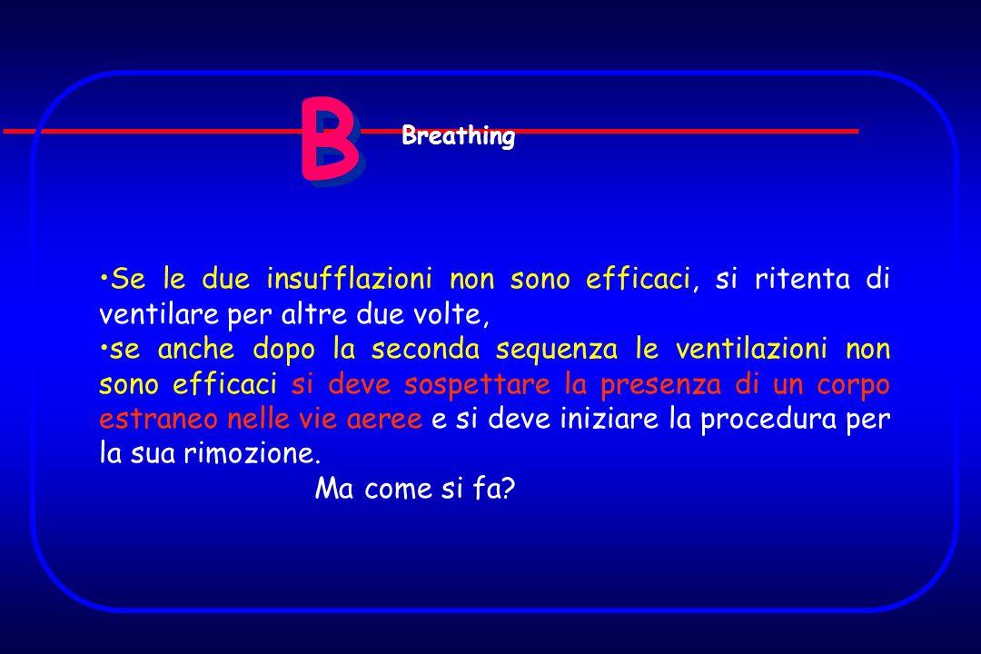 B B Se le due insufflazioni non sono efficaci, si ritenta di ventilare per altre due volte, se anche dopo la seconda sequenza le ventilazioni non sono