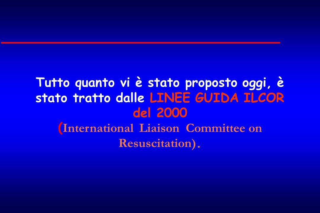 Tutto quanto vi è stato proposto oggi, è stato tratto dalle LINEE GUIDA ILCOR del 2000 ( International Liaison Committee on Resuscitation).