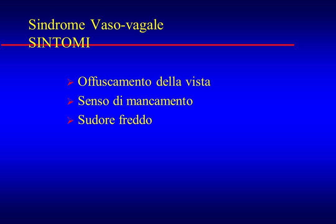 Sindrome Vaso-vagale SINTOMI Offuscamento della vista Senso di mancamento Sudore freddo