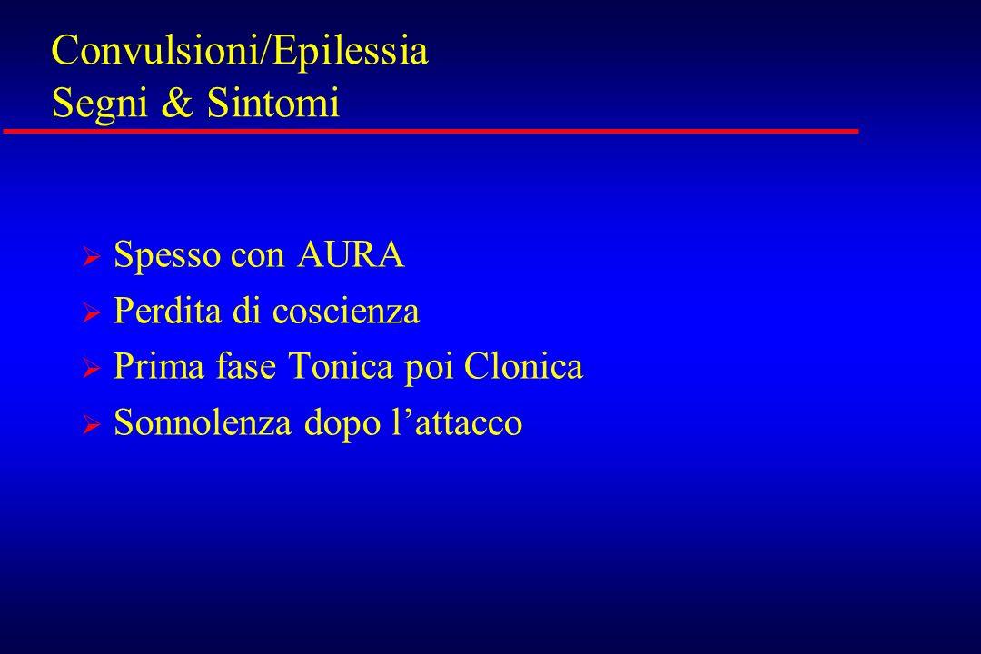 Convulsioni/Epilessia Segni & Sintomi Spesso con AURA Perdita di coscienza Prima fase Tonica poi Clonica Sonnolenza dopo lattacco