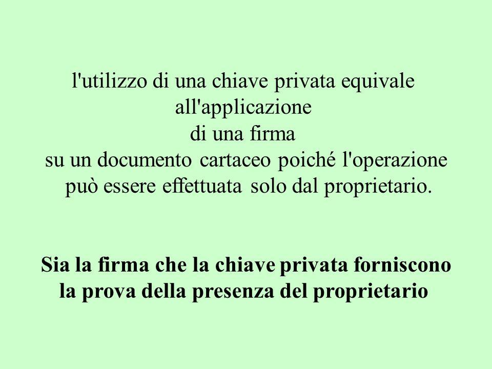 l'utilizzo di una chiave privata equivale all'applicazione di una firma su un documento cartaceo poiché l'operazione può essere effettuata solo dal pr