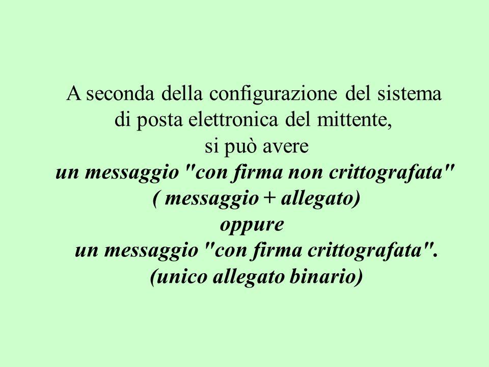 A seconda della configurazione del sistema di posta elettronica del mittente, si può avere un messaggio