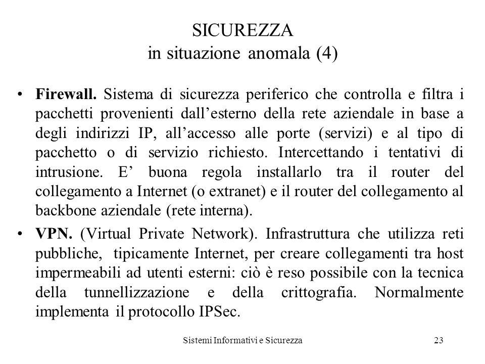 Sistemi Informativi e Sicurezza23 SICUREZZA in situazione anomala (4) Firewall.