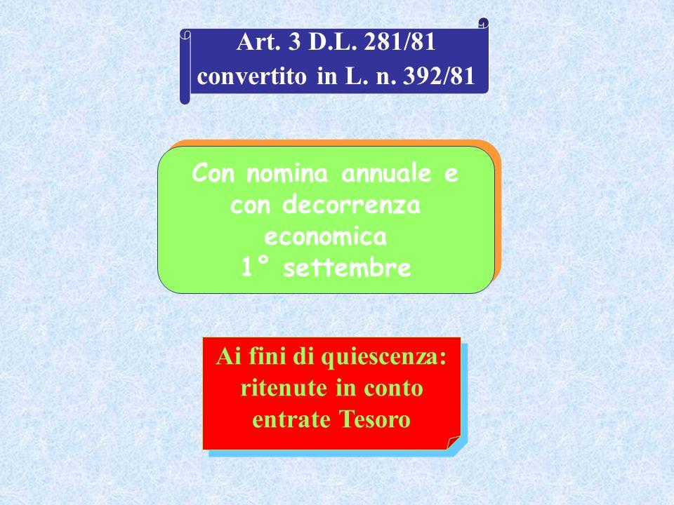 Con nomina annuale e con decorrenza economica 1° settembre Ai fini di quiescenza: ritenute in conto entrate Tesoro Art. 3 D.L. 281/81 convertito in L.