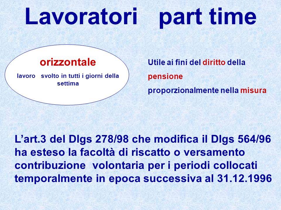 Lavoratori part time orizzontale lavoro svolto in tutti i giorni della settima Utile ai fini del diritto della pensione proporzionalmente nella misura