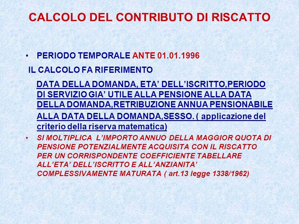 CALCOLO DEL CONTRIBUTO DI RISCATTO PERIODO TEMPORALE ANTE 01.01.1996 IL CALCOLO FA RIFERIMENTO DATA DELLA DOMANDA, ETA DELLISCRITTO,PERIODO DI SERVIZI