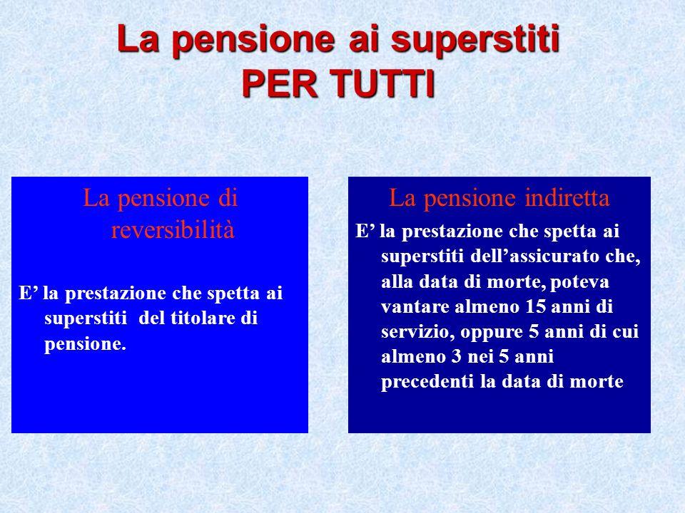 La pensione di reversibilità E la prestazione che spetta ai superstiti del titolare di pensione. La pensione indiretta E la prestazione che spetta ai