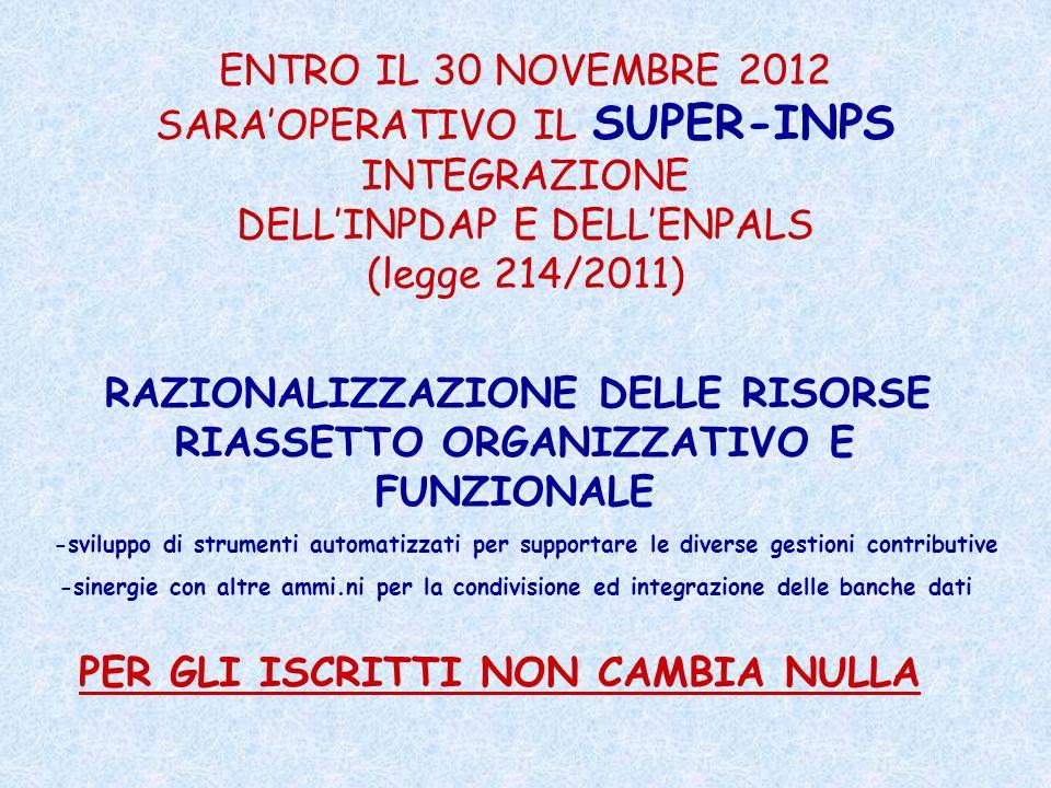 ENTRO IL 30 NOVEMBRE 2012 SARAOPERATIVO IL SUPER-INPS INTEGRAZIONE DELLINPDAP E DELLENPALS (legge 214/2011) RAZIONALIZZAZIONE DELLE RISORSE RIASSETTO