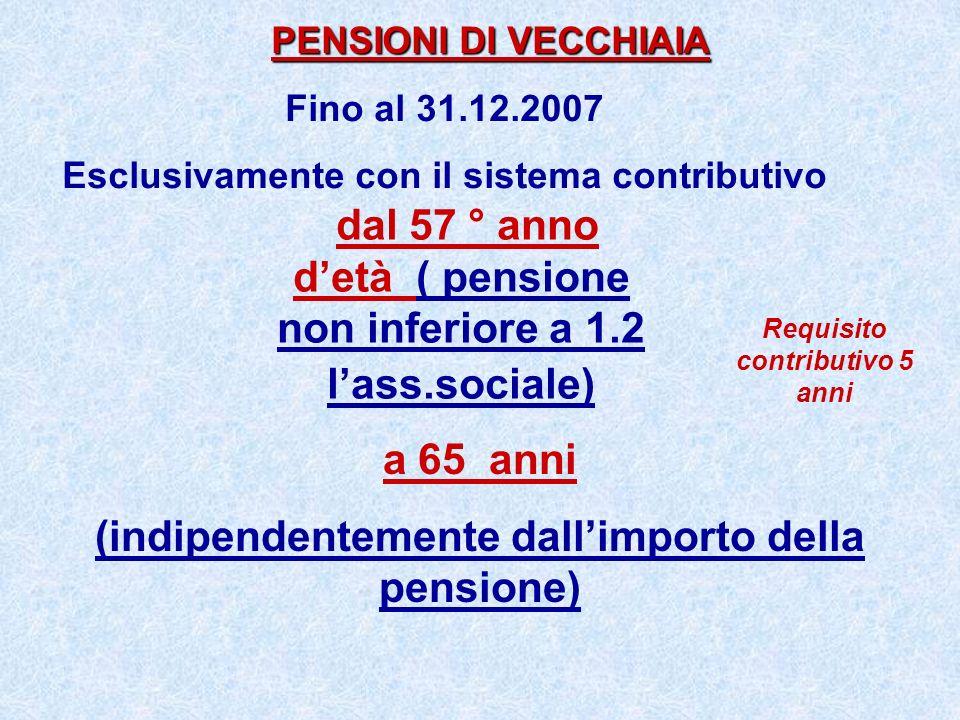 dal 57 ° anno detà ( pensione non inferiore a 1.2 lass.sociale) PENSIONI DI VECCHIAIA PENSIONI DI VECCHIAIA Fino al 31.12.2007 Esclusivamente con il s