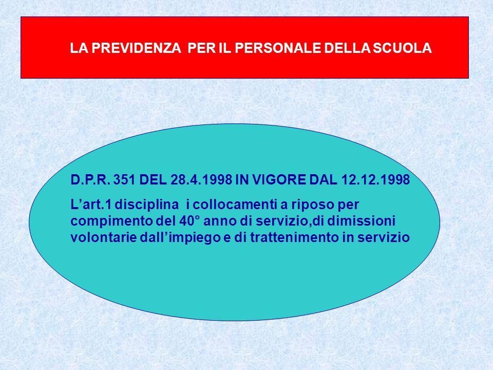 LA PREVIDENZA PER IL PERSONALE DELLA SCUOLA D.P.R. 351 DEL 28.4.1998 IN VIGORE DAL 12.12.1998 Lart.1 disciplina i collocamenti a riposo per compimento