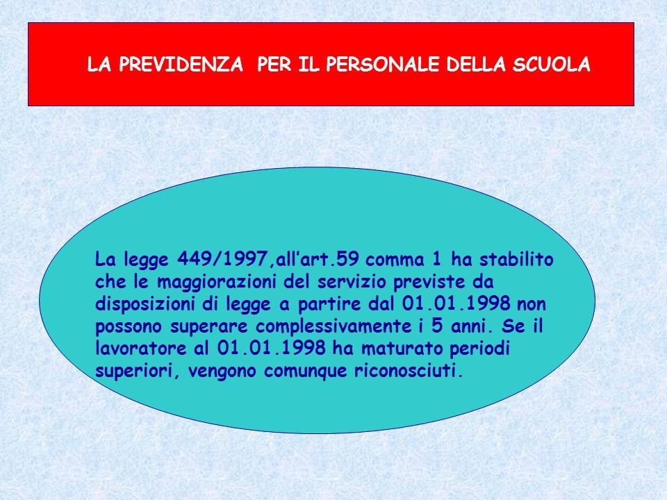 LA PREVIDENZA PER IL PERSONALE DELLA SCUOLA La legge 449/1997,allart.59 comma 1 ha stabilito che le maggiorazioni del servizio previste da disposizion