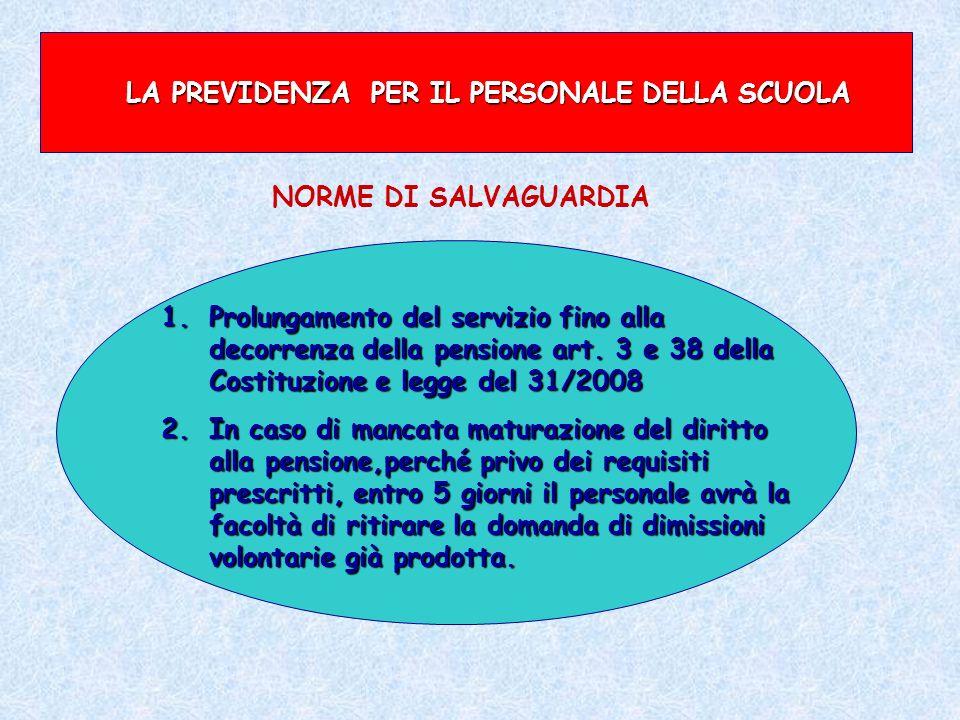 LA PREVIDENZA PER IL PERSONALE DELLA SCUOLA 1.Prolungamento del servizio fino alla decorrenza della pensione art. 3 e 38 della Costituzione e legge de