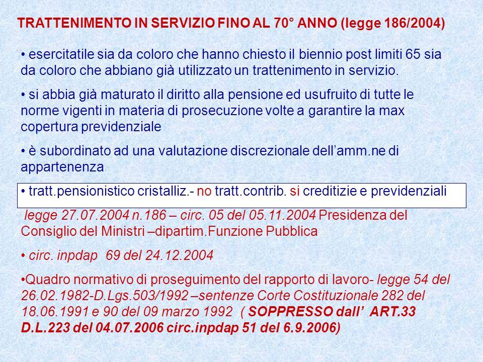 TRATTENIMENTO IN SERVIZIO FINO AL 70° ANNO (legge 186/2004) esercitatile sia da coloro che hanno chiesto il biennio post limiti 65 sia da coloro che a