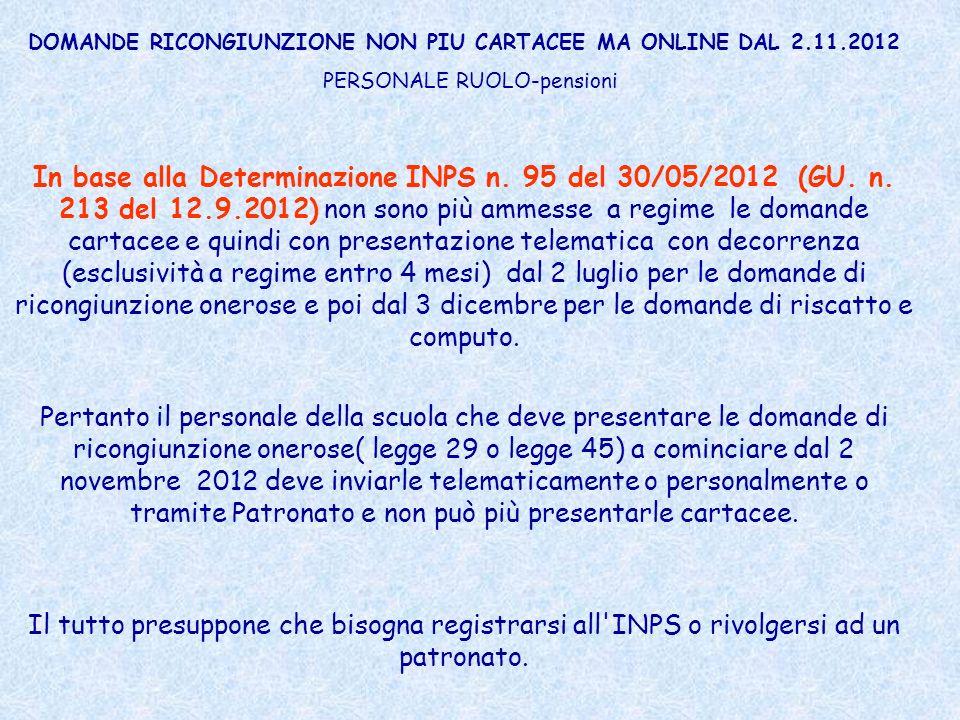 DOMANDE RICONGIUNZIONE NON PIU CARTACEE MA ONLINE DAL 2.11.2012 PERSONALE RUOLO-pensioni In base alla Determinazione INPS n. 95 del 30/05/2012 (GU. n.