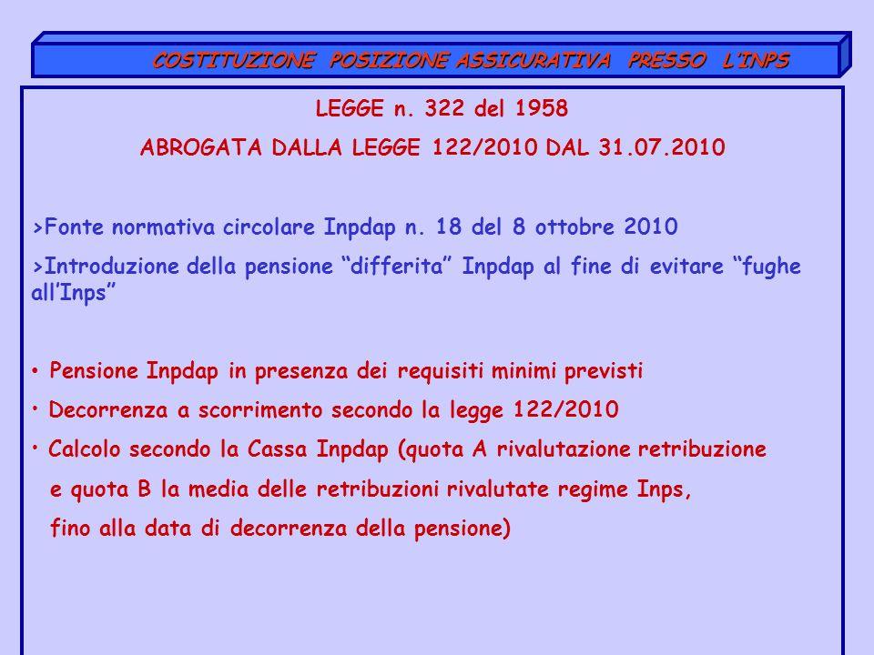 COSTITUZIONE POSIZIONE ASSICURATIVA PRESSO LINPS COSTITUZIONE POSIZIONE ASSICURATIVA PRESSO LINPS LEGGE n. 322 del 1958 ABROGATA DALLA LEGGE 122/2010