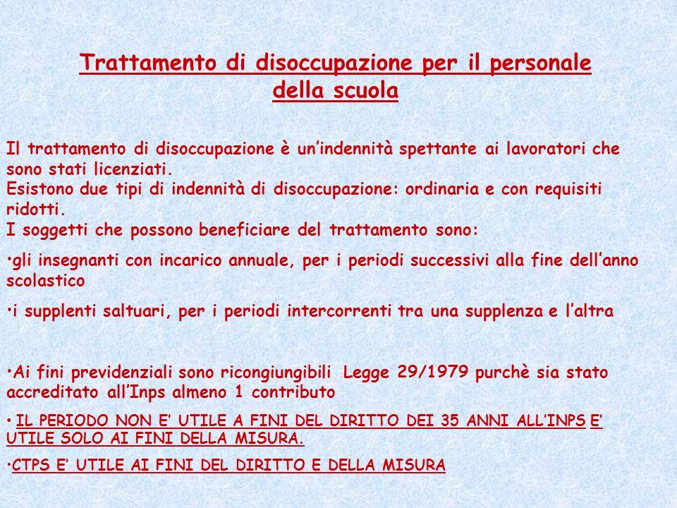 Trattamento di disoccupazione per il personale della scuola Il trattamento di disoccupazione è unindennità spettante ai lavoratori che sono stati lice