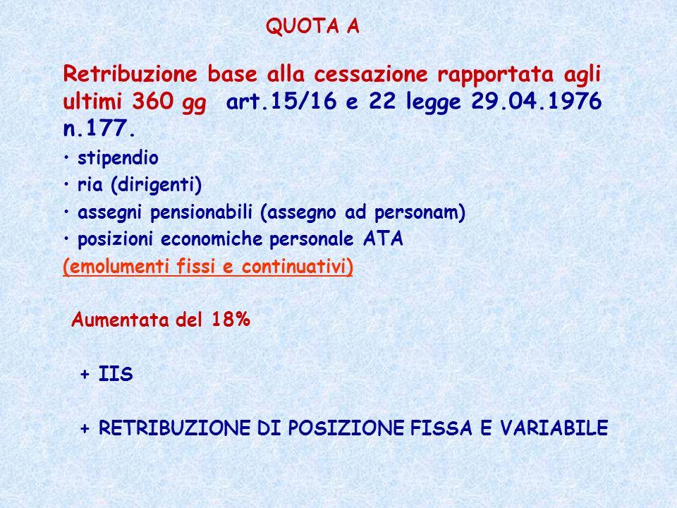 Retribuzione base alla cessazione rapportata agli ultimi 360 gg art.15/16 e 22 legge 29.04.1976 n.177. stipendio ria (dirigenti) assegni pensionabili