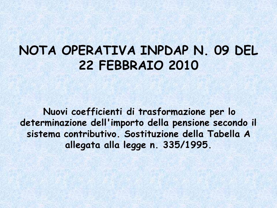 NOTA OPERATIVA INPDAP N. 09 DEL 22 FEBBRAIO 2010 Nuovi coefficienti di trasformazione per lo determinazione dell'importo della pensione secondo il sis