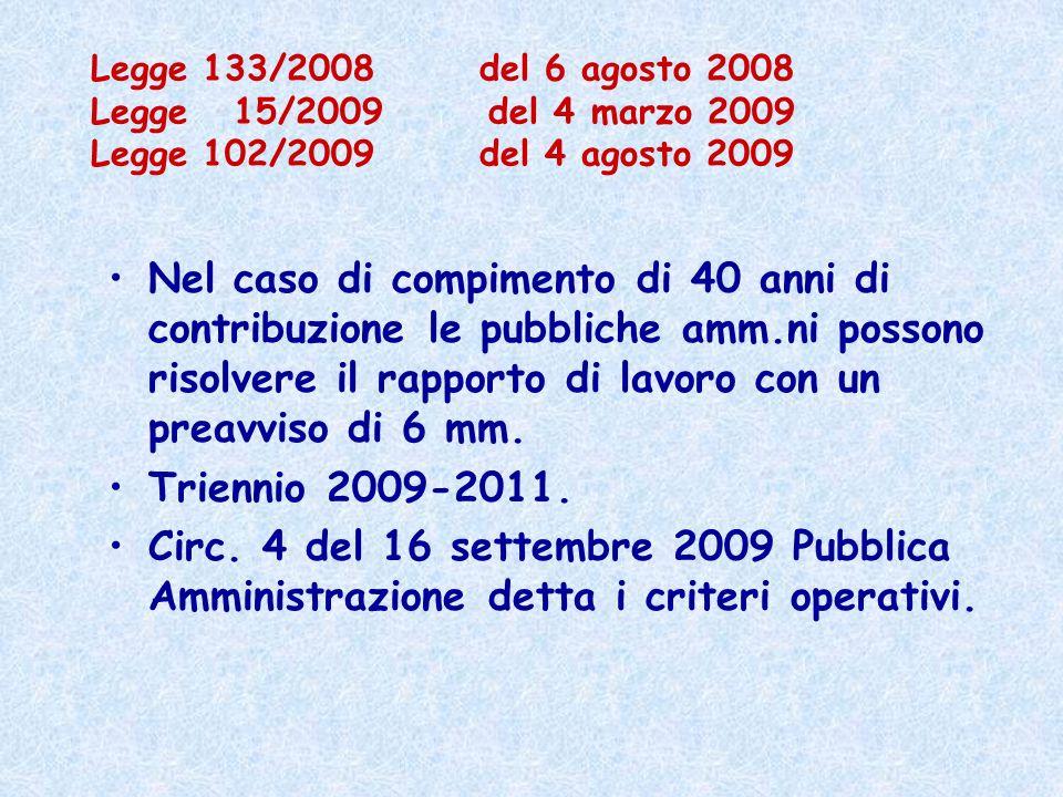 Legge 133/2008 del 6 agosto 2008 Legge 15/2009 del 4 marzo 2009 Legge 102/2009 del 4 agosto 2009 Nel caso di compimento di 40 anni di contribuzione le