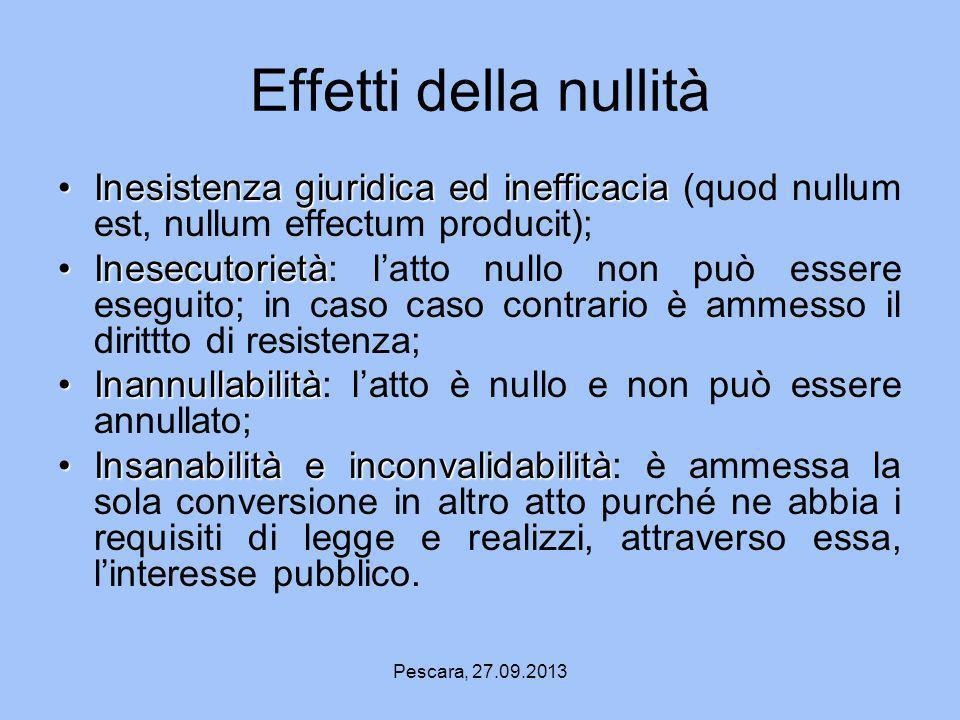 Pescara, 27.09.2013 Effetti della nullità Inesistenza giuridica ed inefficaciaInesistenza giuridica ed inefficacia (quod nullum est, nullum effectum p