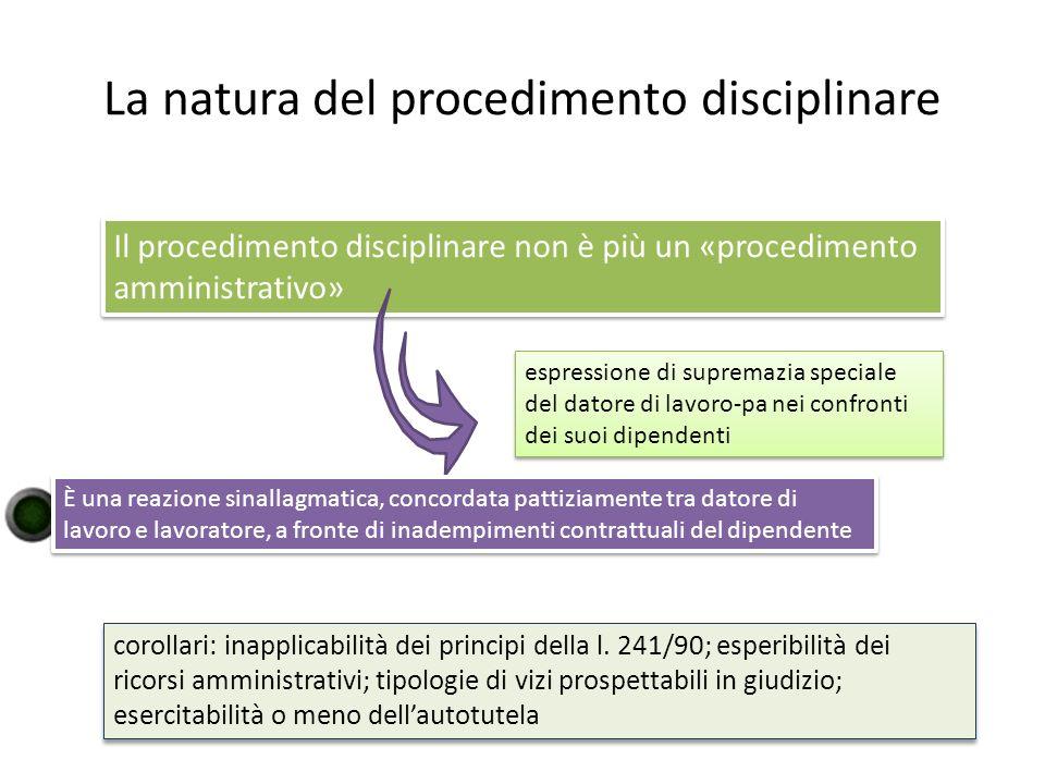 La natura del procedimento disciplinare Il procedimento disciplinare non è più un «procedimento amministrativo» espressione di supremazia speciale del