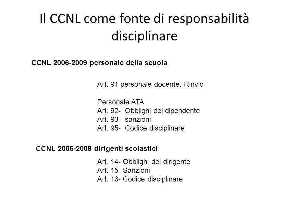 Il CCNL come fonte di responsabilità disciplinare CCNL 2006-2009 personale della scuola Art. 91 personale docente. Rinvio Personale ATA Art. 92- Obbli
